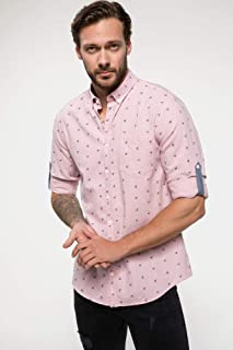 DeFacto Kol Katlama Detaylı Baskılı Gömlek