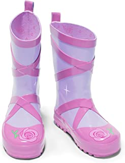 Kidorable Ballerina Rainboots, Pink, Kids Sizes, Natural Rubber Boots with Cotton Lining, Pull On Heel Tab & Non-Slip Sole