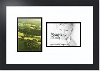 ArtToFrames Double-Multimat-106-61/89-FRBW26079 Collage Photo Frame Double Mat with 2-5x7 Openings and Satin Black Frame, Super White, 2-5x7