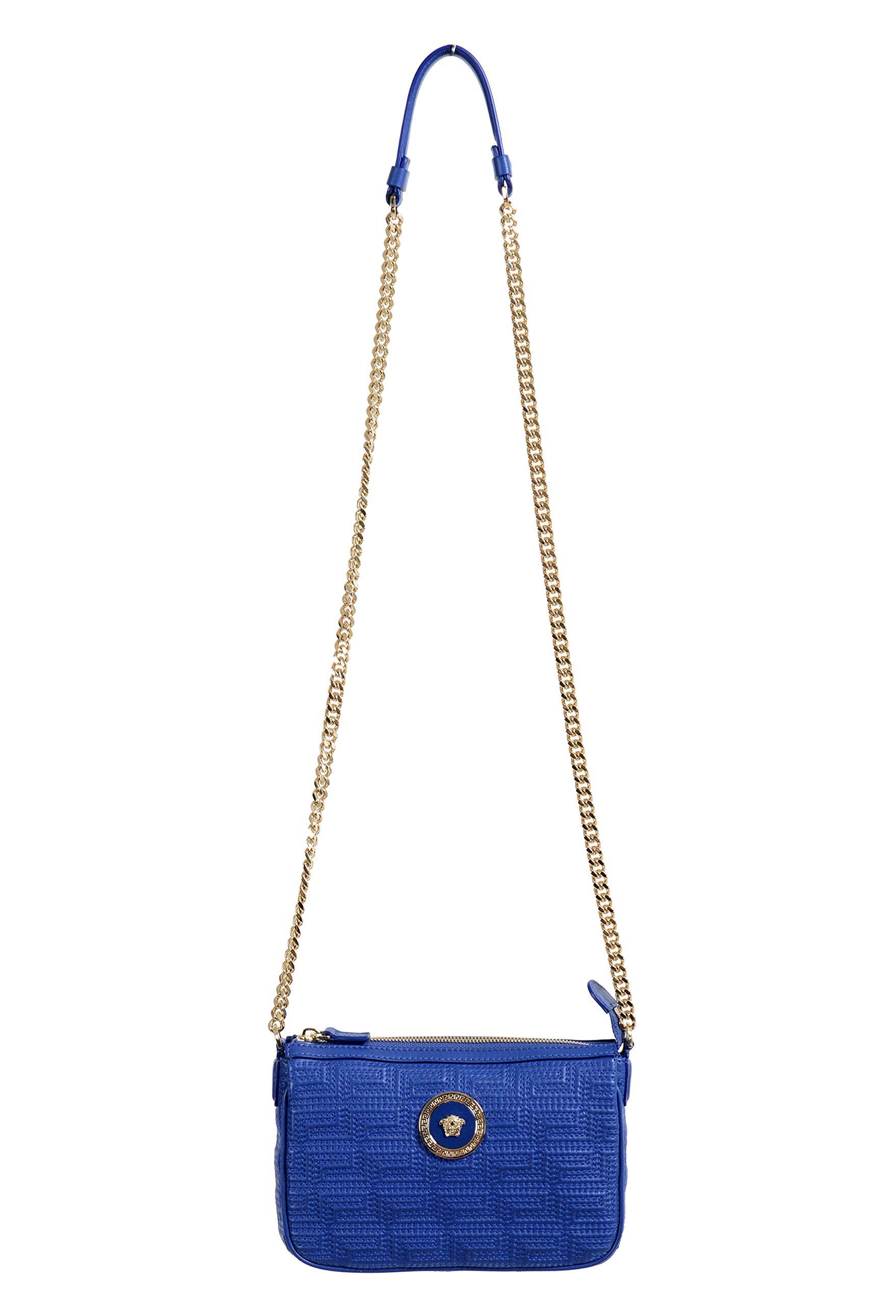 100% Leather Blue Chain Strap Women's Crossbody Shoulder Bag