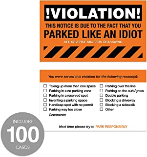 You Parked Like an Idiot Business Cards - Bad Parking Cards - 100 Cards