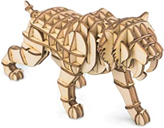 Rolife Build Your Own 3D Wooden Assembly Puzzle Wood Craft Kit Saber Toothed Tiger Model Gifts for Kids and Adults