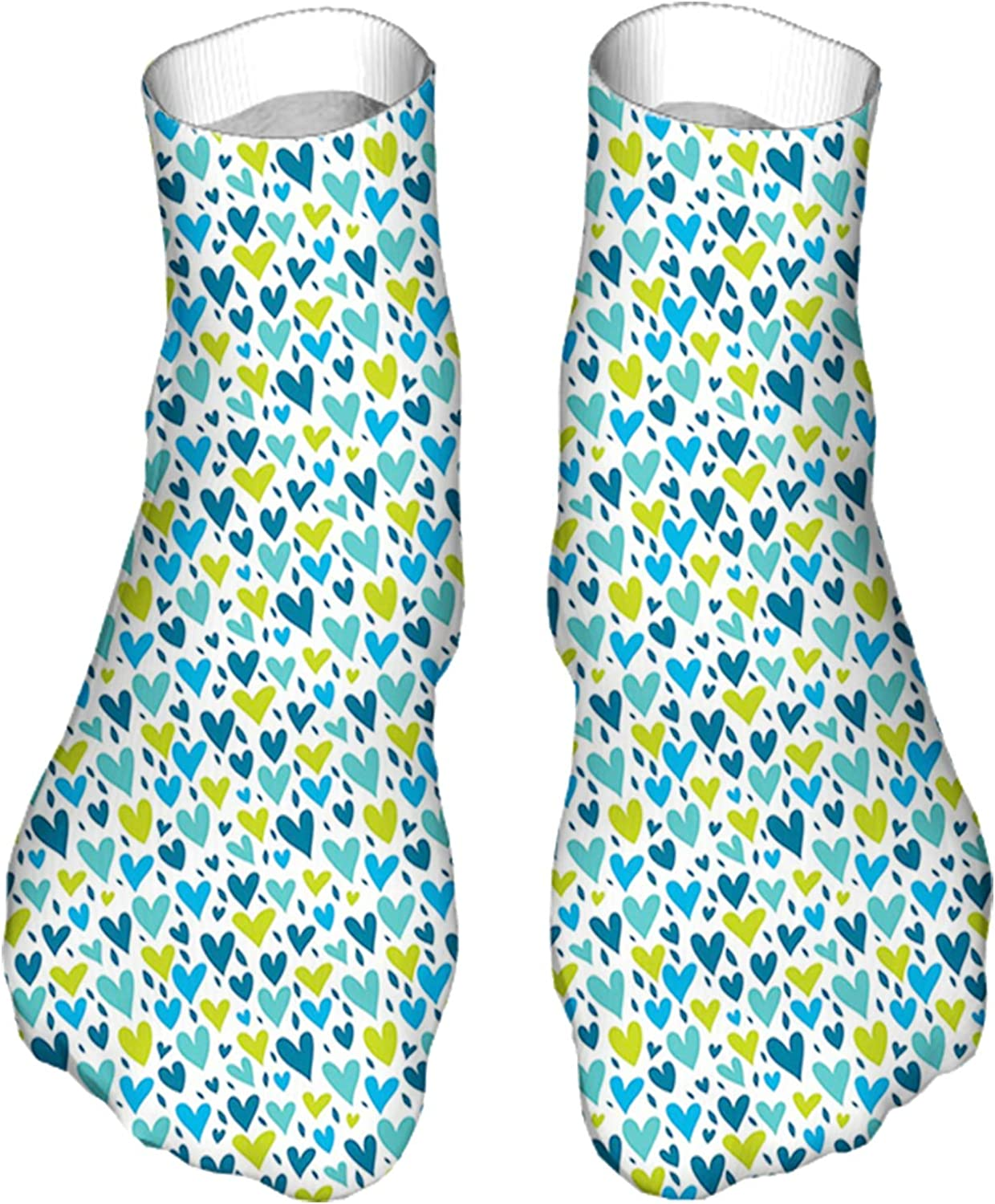 Women's Colorful Patterned Unisex Low Cut/No Show Socks,Irregular Hearts in Blue and Green Tones