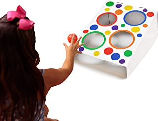 """EWONDERWORLD 17"""" Colorful Lawn Game Cornhole Toss Zone – Kids Learning Game & Carnival Game"""