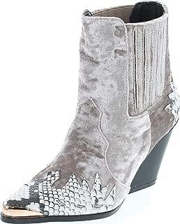 Women Flame Pattern Cowboy Boot - Block Heel Western Boot - Chunky Heel Ankle Boot