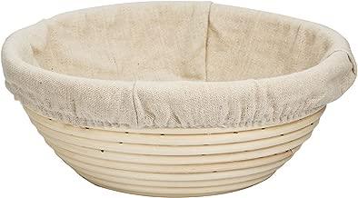 22cm Round Bread Proofing Basket, BetterJonny - Banneton Brotform Bread Dough Proofing Rising Rattan Basket w/Free Linen Liner