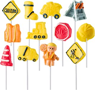 Prextex Construction Themed Lollipops Construction Truck Shaped Suckers - Pack of 12