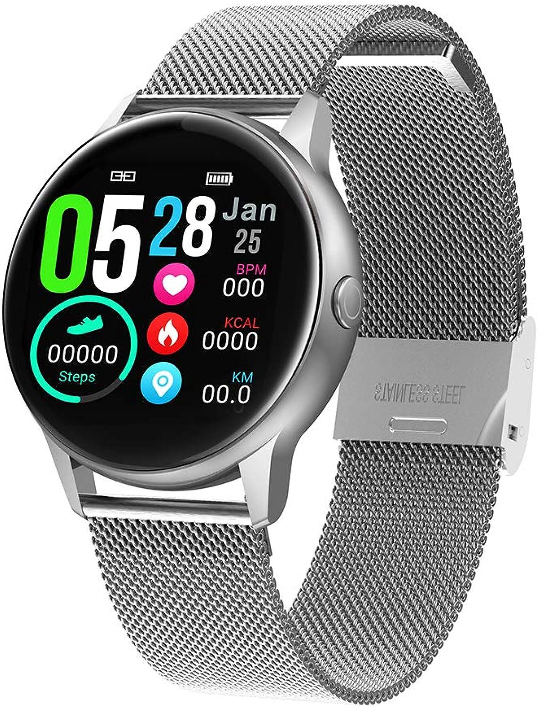 CYRDJ Herzfrequenzmesser, Herzfrequenzmesser Wasserdichter 1,22-Zoll-Farbaktivittsmonitor Schlafmonitor, Blautdruckmonitor, Schrittzhler Smart Watch für iOS Android,Silber
