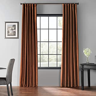 HPD Half Price Drapes PDCH-KBS36BO-108 Blackout Vintage Textured Faux Dupioni Silk Curtain (1 Panel), 50 X 108, Copper Kettle