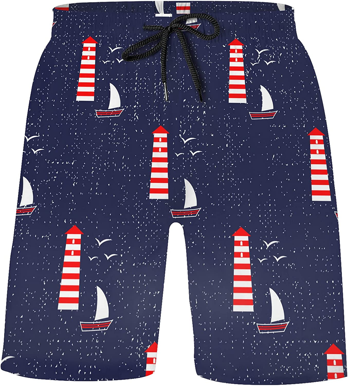 ZXZNC Navy Blue Sailboat Lighthouse Seagull Cute Nautical Boys Quick Dry Beach Board Short