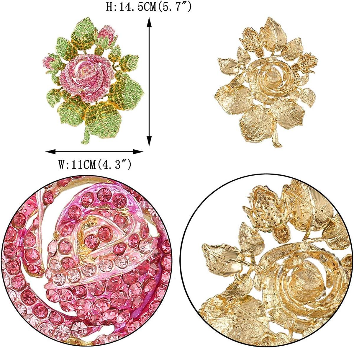 EVER FAITH Austrian Crystal Wedding Bridal Romantic Rose Flower Leaves Brooch