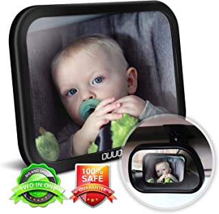 Baby Car Mirror,2 in 1 Car Seat Mirror for Rear Facing Infant with 360°Adjustable Crystal Clear View, Crash Tested and Certified for Safety