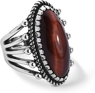 American West Sterling Silver Red Tiger's Eye Gemstone Oval Ring Size 5 to 10