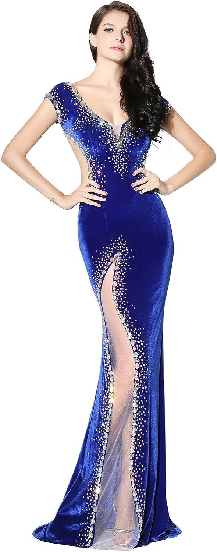 Engerla Women's Open Back Mermaid Velvet Long Beaded Formal Evening Gown