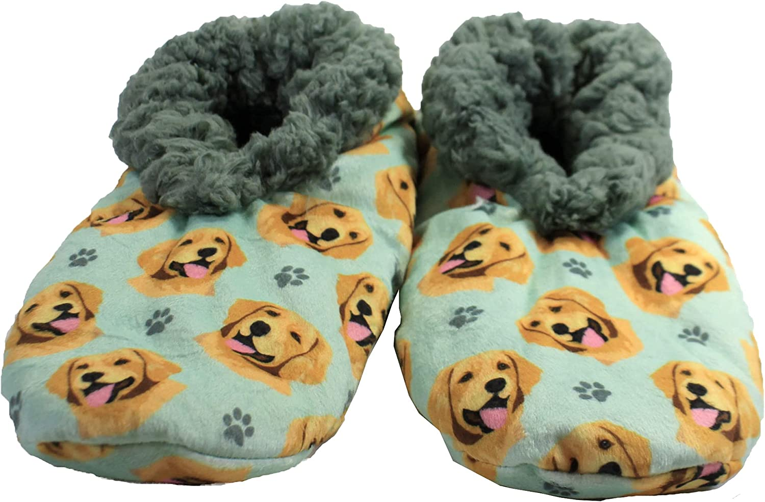Golden Retriever Super Soft Womens Slippers - One Size Fits Most - Cozy House Slippers - Non Skid Bottom - Perfect for Golden Retriever Gifts