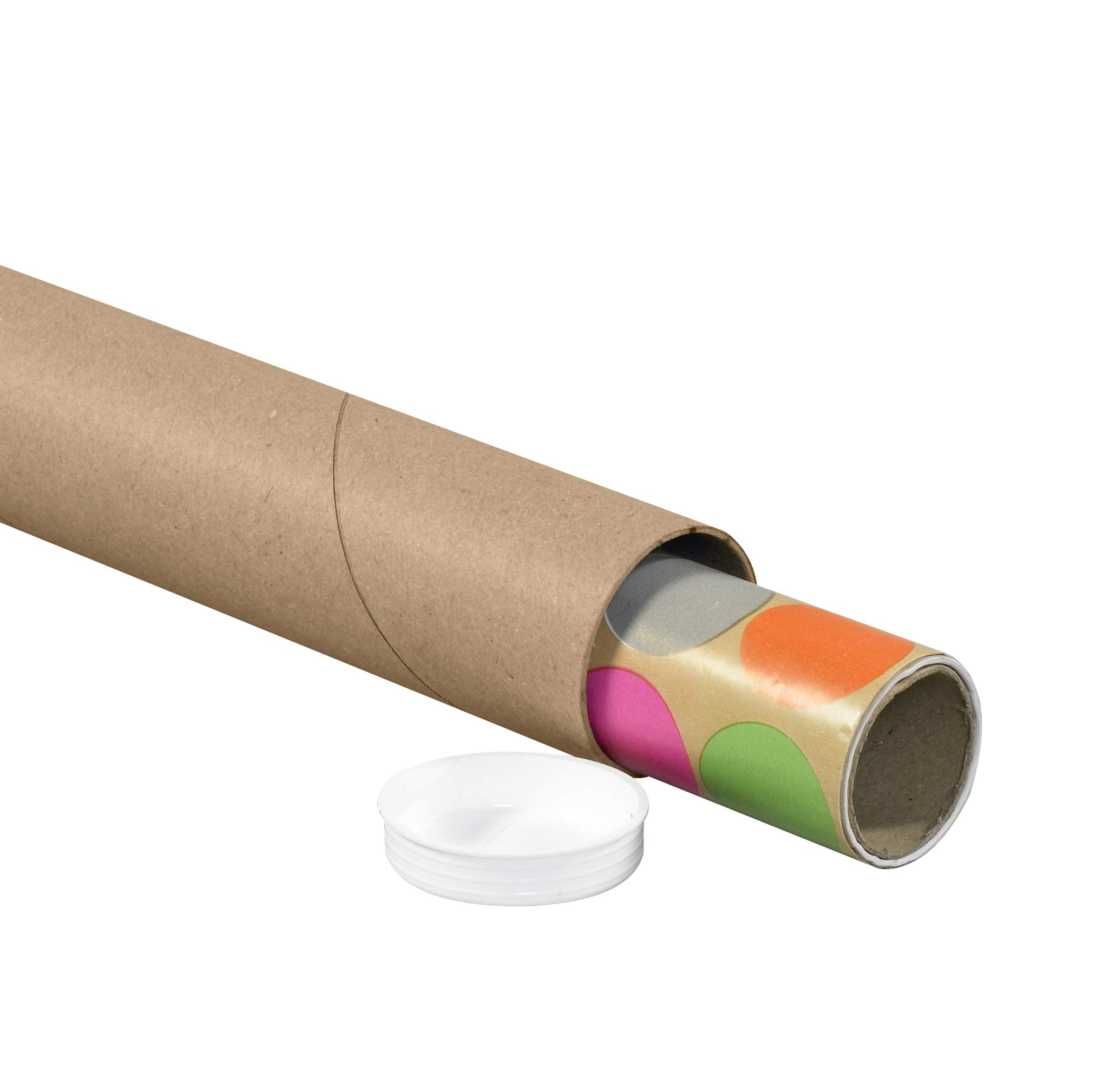 Pack of 24 3 x 20 BOX USA BP3020K Mailing Tubes with Caps Kraft