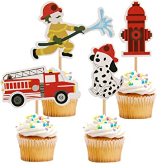 iMagitek 24 Pack Fireman Cupcake Toppers for Kids Birthday Party, Baby Shower, Firefighter Themed Party