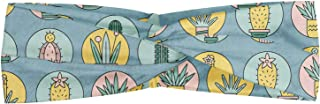 Lunarable Succulent Headband, Cartoon Style Graphic Image of Plantation Cactus in Pots Botanical Elements, Elastic and Soft Women's Bandana for Sports and Everyday Use, Pale Slate Blue