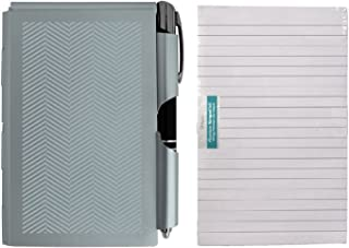 Wellspring Metal Note Pad Case with LED Lighted Pen and Extra Pad Refill 100 Sheets, Bundle (Light Blue)