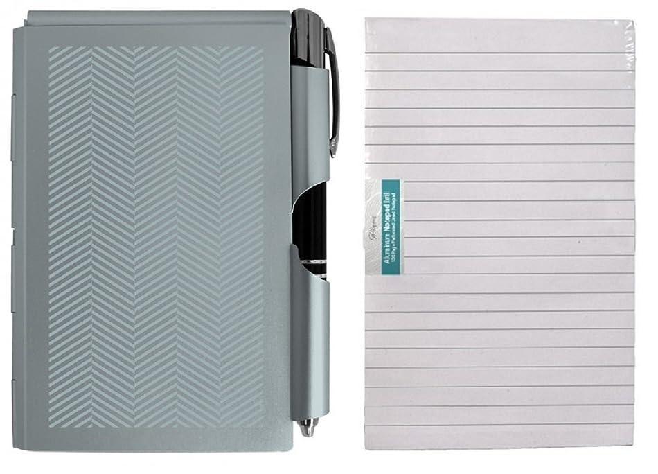 正当化するマーカーセクションWellspringメタルNOTE PAD Case With Led照明付きペンand ExtraパッドRefill 100シート、バンドル, ブルー 43223-37735