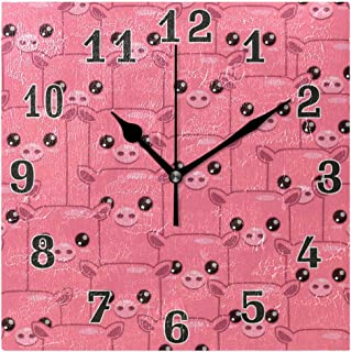 AUUXVA Toprint Cute Pig Pattern Pink Square Acrylic Wall Clock, Silent Non Ticking Art Painting Clock for Kids Girls Children Bedroom Living Room School Home Decor
