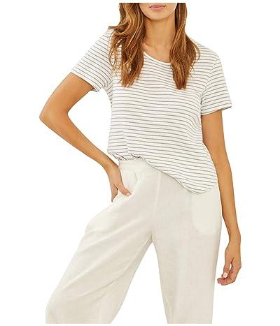 Three Dots Cotton Modal Short Sleeve Stripe Tee (White/Charcoal) Women