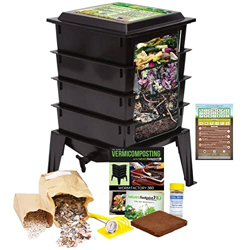 Worm Factory 360 Worm Composting Bin + Bonus What Can Red Wigglers Eat? Infographic Refrigerator