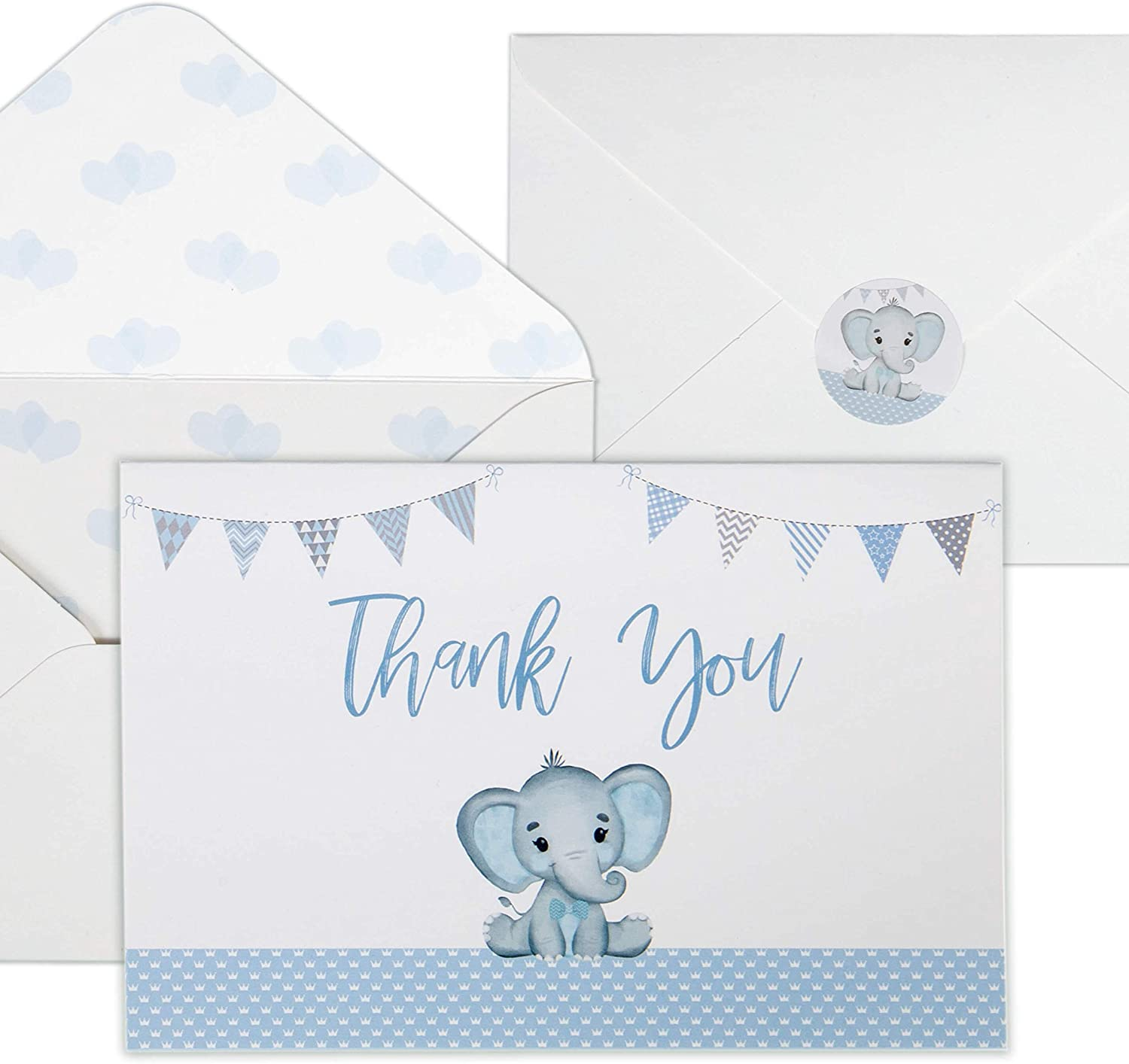 Baby Shower Thank You Cards for Ranking integrated 1st place Pack Blue El Brand Cheap Sale Venue Boys. 50 Watercolor