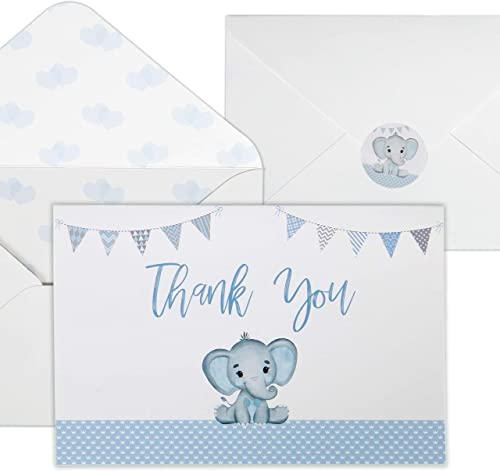 Baby Shower Thank You Cards for Boys. 50 Pack Blue Watercolor Elephant Boys Baby Shower Cards. Cute Thank You Notes w...
