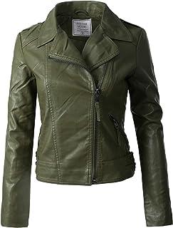44b3d87b9f9 Instar Mode Women s Long Sleeve Zipper Closure Moto Biker Faux Leather Suede  Jacket