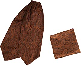 Epoint Men's Fashion Pre-tied Ascot Tie Paisley Large Cravats for Wedding, Hanky Set, with free Gift Box