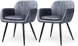 Besit Chaise de Salle à Manger Lot de 2, Chaise scandinave Rembourrée en éponge épaisse, Le Tissu de Chaise de Cuisine en ...