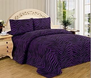 4 Piece Zebra Animal Print Super Soft Executive Collection 1500 Series Bed Sheet Set Queen Size (Purple Zebra)