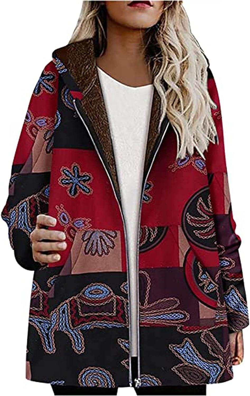 Winter Coats for Women,Womens Zipper Cardigan Hoodie Long Sleeve Autumn Big Pattern Print Warm Tops Ladies Pockets Outerwear