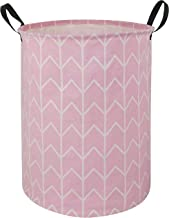 HUAYEE 19.6 Inches Large Laundry Basket Waterproof Round Cotton Linen Collapsible Storage bin with Handles for Hamper Kids...
