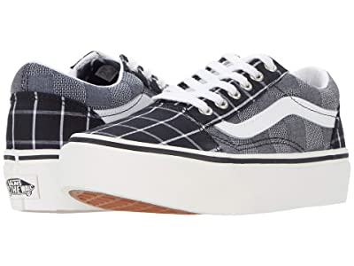 Vans Kids Old Skool Platform (Little Kid) ((Woven Check) Multi/Blanc de Blanc) Girls Shoes