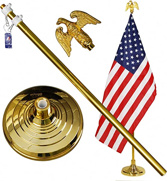 A ONE 8FT Telescopic Indoor Flagpole Kit Heavy Duty US Telescoping Aluminum Flag Pole With Base Stand And Gold Eagle Topper Ornament Golden