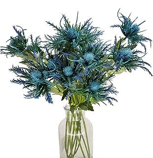 "Ahvoler Artificial Blue Eryngium Flowers Fake Eryngo Plants for Wedding Bouquet Centerpiece Home Decor,26"",5 pcs"