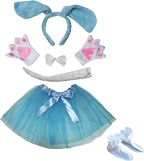 Dog Headband Bowtie Tail Glove Shoes Tutu Girl 6pc Costume