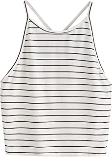 SweatyRocks Women's Sexy Summer Sleeveless Striped Backless Halter Crop Tops