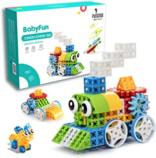 PUNGROW Choo-Choo Go, 117 Pcs Gears Building Blocks Toy with Motorized Spin Wheels, Six-Sided Connect Building Bricks Crea...