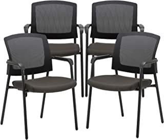 CLATINA Office Reception Guest Chair Mesh Back Stacking with Ergonomic Lumbar Support and Thickened Seat Cushion for Waiting Conference Room 4 Pack