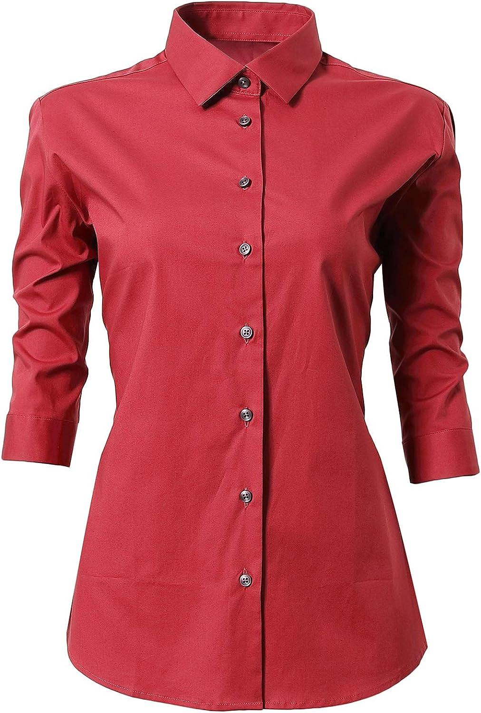 INFLATION Damen Hemd mit Kn/öpfen Baumwolle Bluse Langarmshirt Figurbetonte Hemdbluse Business Oberteil Arbeithemden 11 Farben