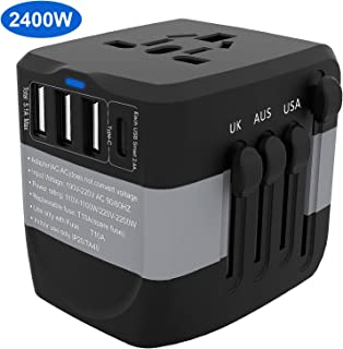Universal Travel Adapter, 2400W International High Power Adapter with 1 Smart Type-C & 3 USB Ports,KeShi Worldwide All in One Power Plug Adapter for UK, EU, AU, US, Over 200 Countries