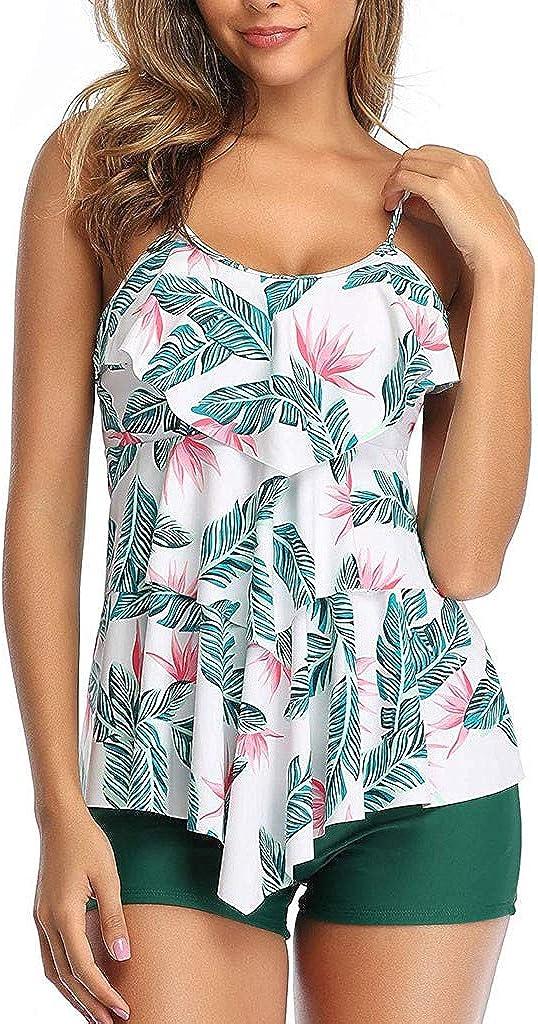 RYGHEWE Women Tankini Set Plus Size Swimwear Ruffle Layered Flounce Retro Floral Printed Two Piece Tummy Control Swimsuits