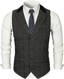 Men Herringbone Plaid Tweed Suit Vest Woolen Formal Wedding Waistcoat Tux Vest