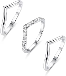3PCS Sterling Silver Thumb Rings CZ Engagement Stackable Chevron Rings V Shape Wave Ring Curved Wedding Band Rings for Women,6-10