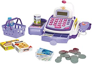 Papa N Me Store Limited Edition The Best Activity Learning Family Battery Operated Electronic Cash Register Toy Pretend Play Microphone, Scanner, Money and Credit Card, Groceries with Sound Purple