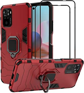 EasyLifeGo for Xiaomi Redmi Note 10 4G / Redmi Note 10S Kickstand Case with Tempered Glass Screen Protector [2 pieces], Hy...
