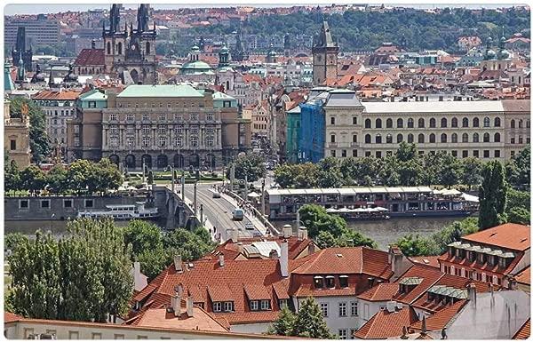 Tree26 Indoor Floor Rug Mat 23 6 X 15 7 Inch Prague City View From Above Homes Czech Republic